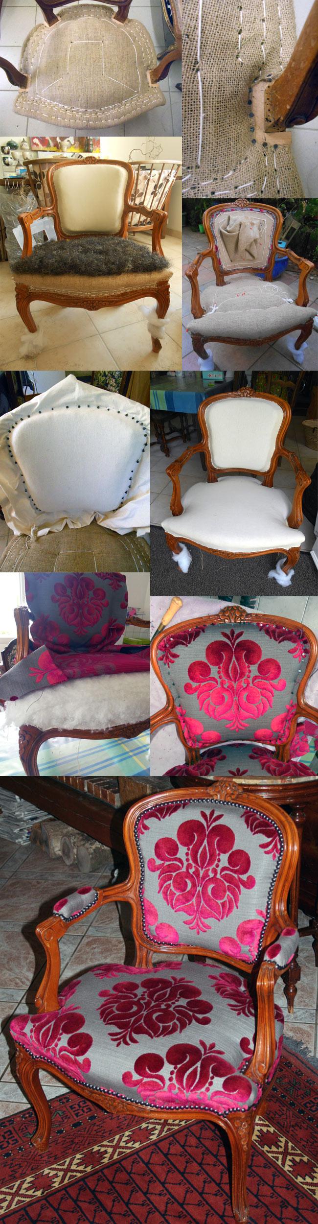 Toutes les étapes de réféction d'un fauteuil cabriolet Louis XV