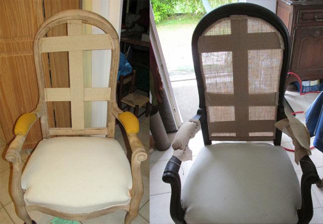 Rénovation du bois d'un siège