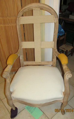 Fauteuil voltaire assise, toile blanche